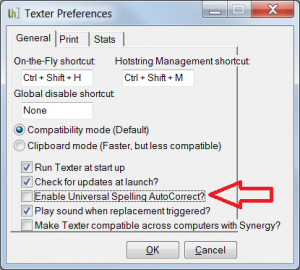 Turning off the Universal Spelling Autocorrect Setting