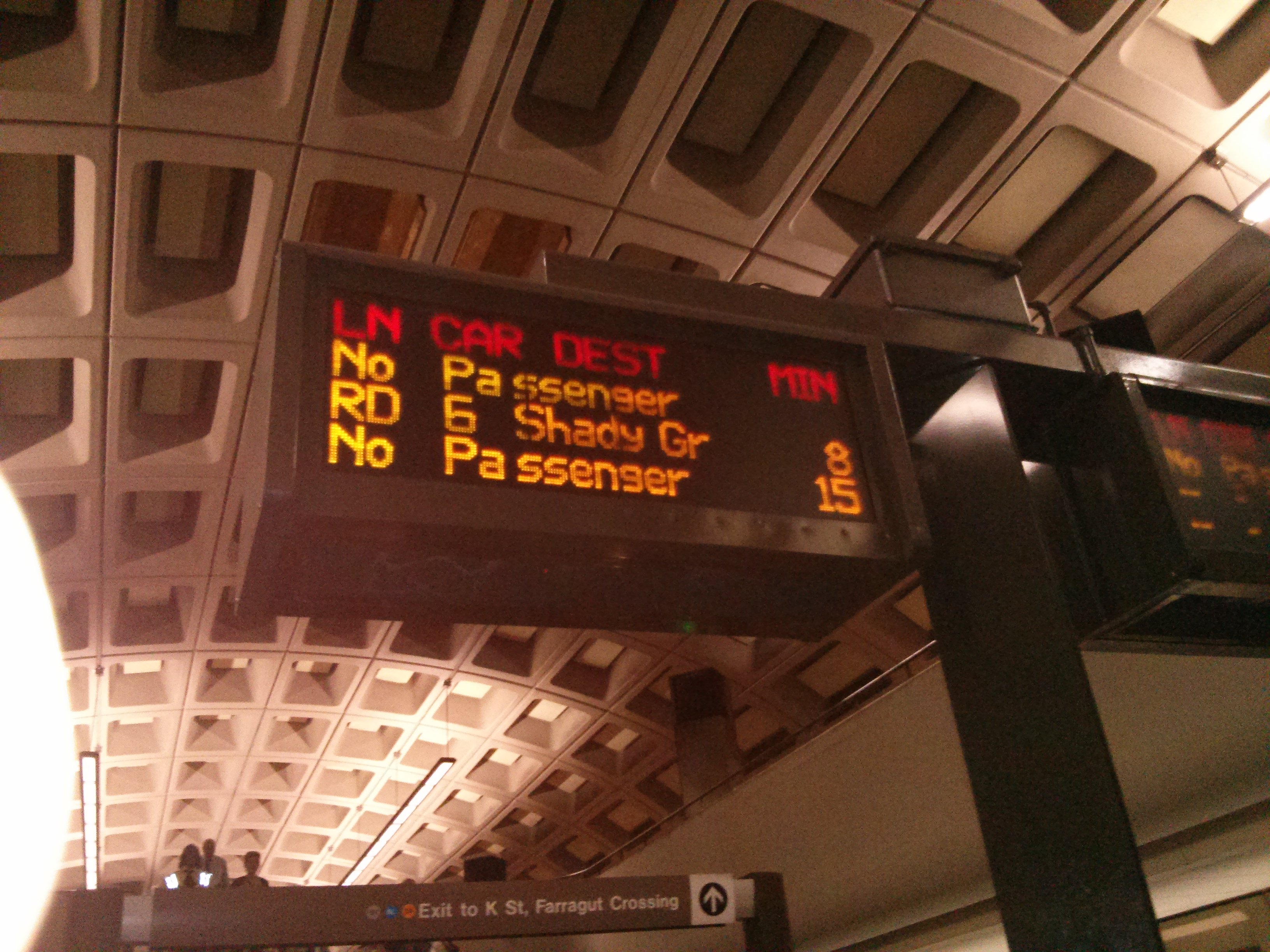 Train Arrivals Display at Farragut North