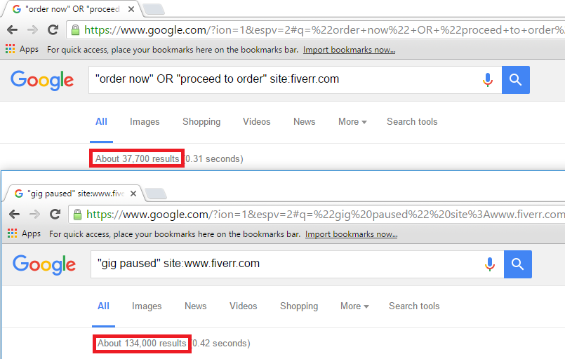 Two Google search results, showing the ratio between live and paused Fiverr gigs is roughly 3.6 to 1