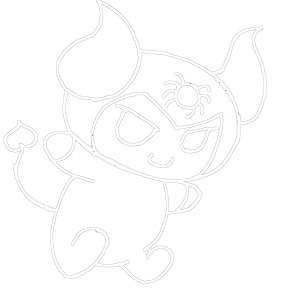 a cute devil baby character rendered in Kawaii style