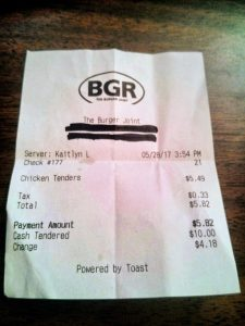 "Receipt from BGR with ""Powered by Toast"" in the footer"