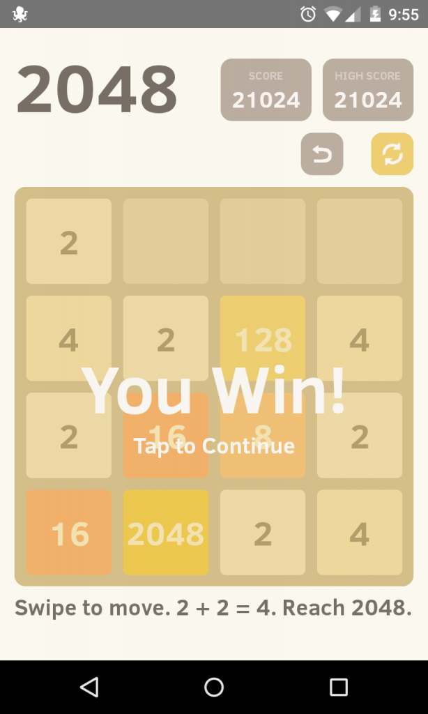 "a successfully completed 2048 game, with ""You Win!' text superimposed."